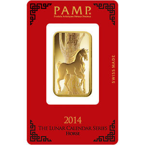 1 oz Lingotin Or Pur Cheval Fine Gold PAMP Suisse Horse Bar 9999