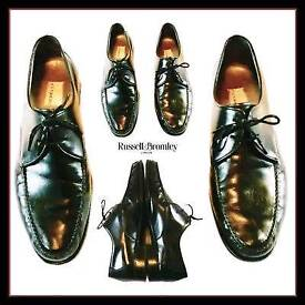 Mens Russell & Bromley Full Leather Bench Made Lace Up Shoes Black. Size 8.5