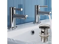 Pair of Hot and Cold Basin Sink Mixer Taps with Pop Up Waste TB3011S