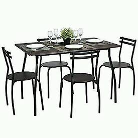 Brand new Reeder - Kitchen Dining set of 5pcs 1 table 4 chairs Walnut with Black Tube