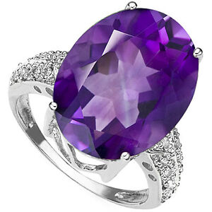 10.47 Carat Amethyst & Diamond 14K Solid White Gold Ring