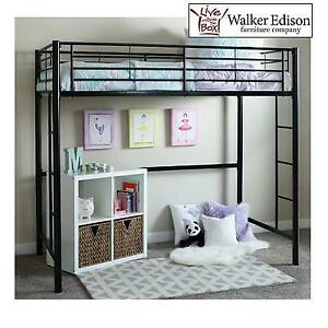 NEW WALKER EDISON TWIN LOFT BED BTOLBL 257591989 METAL BLACK