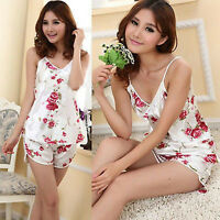 Sexy Girl Women Flower Sleepwear Braces Shirts&Shorts Underwear