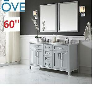 NEW* OVE 60'' VANITY / MIRRORS SET Tahoe 60 DG 224641163 TAHOE DOVE GREY BATHROOM