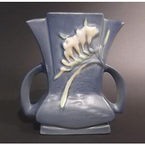 1940's Roseville Pottery Blue Freesia Fan Vase
