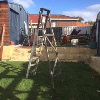 Large rustic vintage wooden ladder