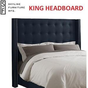NEW SF LINEN NAVY KING HEADBOARD - 121867852 - SKYLINE FURNITURE NAIL BUTTON WINGBACK