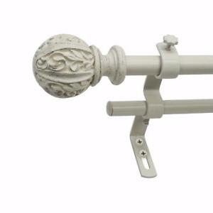 "Like New, Montevilla Core Leaf Ball Double Telescoping Drapery Rod Set, 48-86"", Distressed White *PickupOnly"