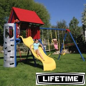NEW* LIFETIME CLUBHOUSE PLAYSET - 129164786 - BIG STUFF PRIMARY COLOUR PLAYSETS PLAYGROUND PLAYGROUNDS SWINGS SLIDES ...