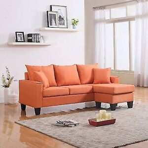 Divano Roma Furniture Modern Linen Fabric Small E Sectional Sofa With Chaise