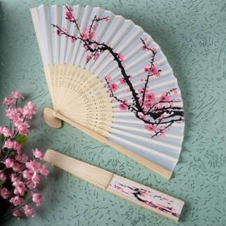 Cherry Blossom Design Silk Folding Fan (Set of 5) - NEW!