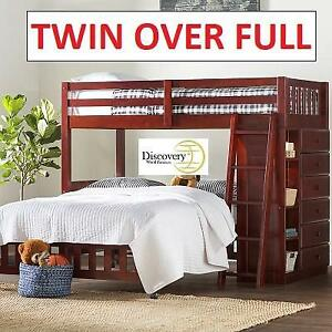 NEW TWIN OVER FULL WOOD BUNK BED 2805-TFM 199875811 KROGER DISCOVERY FURNITURE MERLOT FINISH
