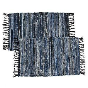2 Blue Denim Chindi Doorway Rag Rugs 100 Cotton Recycled Fabric