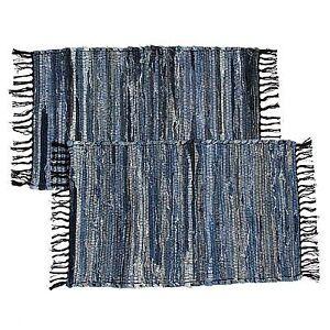 2 Blue Denim Chindi Doorway Rag Rugs 100 Cotton Recycled Fabric