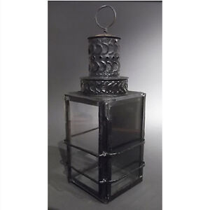 Antique Pierced Tin, Metal and Glass Shade Candle Lantern