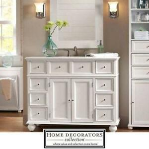 """NEW* HDC 44"""" VANITY WITH MARBLE TOP - 124495974 - HOME DECORATORS - WHITE - NATURAL MARBLE TOP - BATH BATHROOM FURNIT..."""