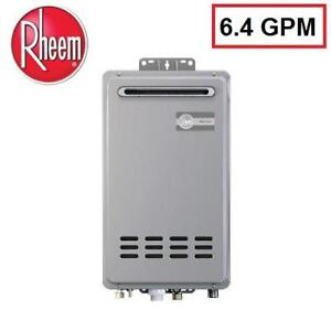 NEW RHEEM TANKLESS WATER HEATER - 132792051 - 6.4 GPM LIQUID PROPANE GAS OUTDOOR