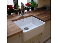 New RAK 600 x 475 Ceramics Gourmet Belfast Kitchen Sink 2 1.0 Bowl White Ceramic