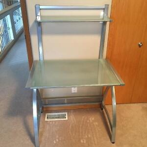 Glass Computer Desk With 2 Matching Shelving Units