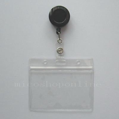 3 Id Card Holder Reels Retractable Badge Lanyard Reel Zip Lock Horizontal