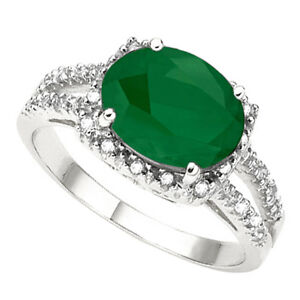 NEW LARGE EMERALD & DIAMONDS RING CRAFTED IN 10K WHITE GOLD