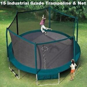 Sale 15' ft Industrial Grade Trampoline And Safety Enclosure, 10yr Warranty, Wheels Easy To Move Now $399.99