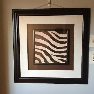 Matted and framed zebra print Peterborough Peterborough Area image 1