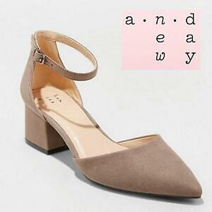 1782c027f5 NEW A NEW DAY SHOES WOMENS 8 NATALIA 253714026 NATALIA MICROSUEDE POINTED  TOE BLOCK HEELED PUMPS