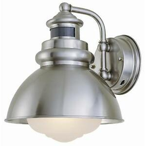 Exterior light buy or sell outdoor lighting in ontario kijiji hampton bay exterior wall lantern light bnib brushed nickel mozeypictures Images