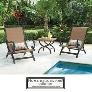 NEW 3 PIECE WICKER PATIO SET - 122817725 - HOME DECORATORS COLLECTION 2 CHAIRS  TABLE - OUTDOOR FURNITURE DECOR
