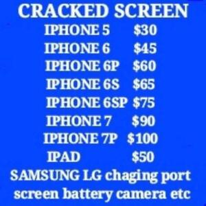 IPHONE SAMSUNG IPAD SPECIALIST,fix on spot,Samsung S4 $40,S5 $60,S6 $80,IPAD$50,BEST PRICE GUARANTEES! SEE MORE PRICE.