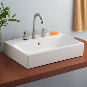 "New Bathroom Vessel Sink by Cheviot with 8"" Spread 3 Hole Faucet"