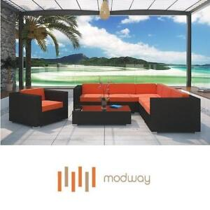 NEW MODWAY CORONA SECTIONAL SET - 124855811 - 7 PC -  ESPRESSO ORANGE CUSHIONS OUTDOOR SEATS SOFA SOFAS SECTIONALS SE...