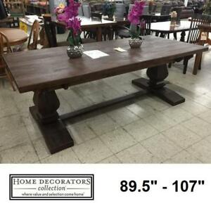 "NEW* HDC ALDRIDGE DINING TABLE - 128434660 - HOME DECORATORS ANTIQUE WALNUT - 30"" x 42"" x 89.5"" - EXTENDABLE TO 107"" ..."
