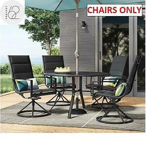 NEW 4 AVALON PATIO SWIVEL CHAIRS 8336 245331567 PROJECT 62 DINING BLACK