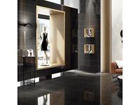 Black Glossy Porcelain Tiles with Quartz Effect (30cmx60cm)