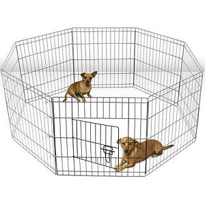 "24"" Dog Puppy Playpen 8 Panel Pet Pen Cat Exercise BRAND NEW"