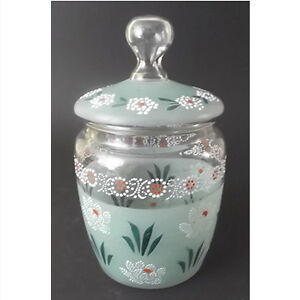 Antique Bohemian (Czech) Lidded Glass Cookie/Storage Jar