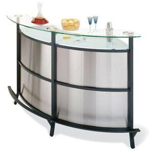 Bar en stainless et verre avec 3 bancs