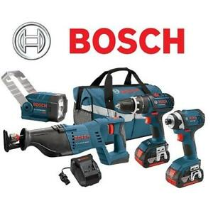 NEW BOSCH 18V 4-TOOL COMBO KIT - 132868438 - HAMMER DRILL/DRIVER, IMPACT DRIVER, RECIP SAW,2 BATTERIES+CHARGER