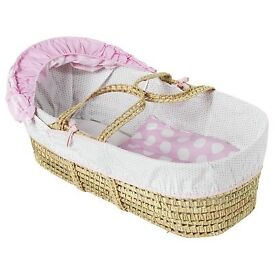 Clair de lune polka dot moses basket and stand