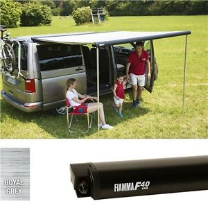 Fiamma F40 awning VW T5. 270cm. Black case with a Royal Grey canopy