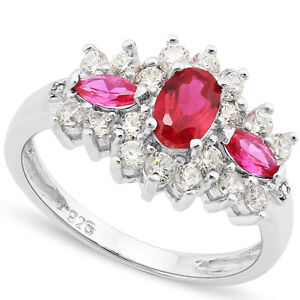 LOVELY 0.60 CT CREATED RUBY & 2PCS CREATED RUBY PLATINUM OVER 0.