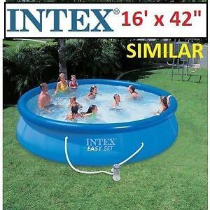 "NEW INTEX ABOVE GROUND POOL 26183MW 201878370 EASY SET W/ FILTER PUMP 16'x42"""
