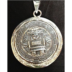 Vintage Mexican reversible sterling silver pendant