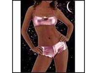 Sexy 2 piece Hot pants club wear/ dancer set in metallic pink. Brand New in packaging