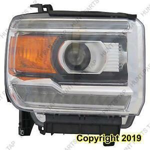 Headlight Passenger Side Halogen With Led Chrome [1500 2014-2015] [Gc-Ceg/Mtd Sierra/Denali 2500/3500 2015-2016] High Qu