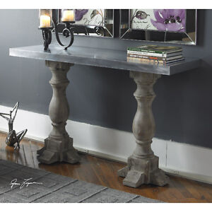 Metal top solid wood base console/sofa table