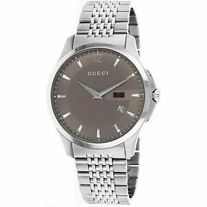 8db248879fb Gucci Mens 126 G-timeless Slim Stainless Steel Swiss Quartz Watch YA126310