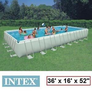 """NEW INTEX RECTANGULAR ULTRA FRAME POOL - 130057604 - 36'x16'x52"""" - LADDER, SAND FILTER PUMP, GROUND COVER, POOL COVER..."""